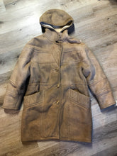 Load image into Gallery viewer, Kingspier Vintage - Hide Society light brown suede coat with shearling lining, hood, inside drawstring, button closures and slash pockets.