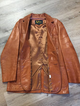Load image into Gallery viewer, Kingspier Vintage - Alder brown leather jacket with button closures and three patch pockets. Made in California. Size 42.