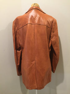 Kingspier Vintage - Alder brown leather jacket with button closures and three patch pockets. Made in California. Size 42.