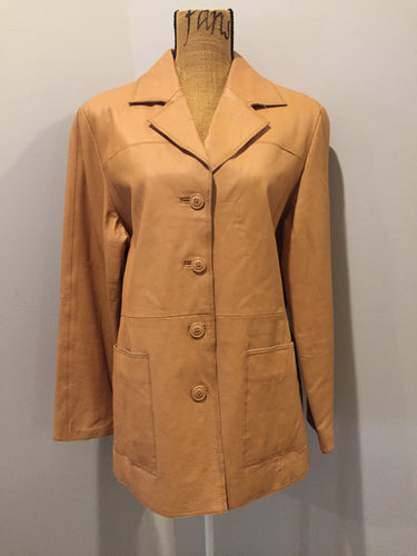 Kingspier Vintage - Jerry Lewis tan leather jacket with button closures and patch pockets. Size medium.