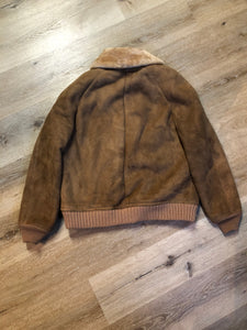 Kingspier Vintage - Sawyer of Napa deerskin bomber jacket with shearling collar and lining, knit trim, zipper closure and slash pockets. Made in the USA. Size 44.