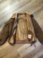 Load image into Gallery viewer, Kingspier Vintage - Sawyer of Napa deerskin bomber jacket with shearling collar and lining, knit trim, zipper closure and slash pockets. Made in the USA. Size 44.