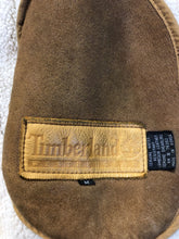 Load image into Gallery viewer, Timberland tan suede lambskin coat with shearling trim and lining, button closures and slash pockets. Coat is water resistant. Size medium.