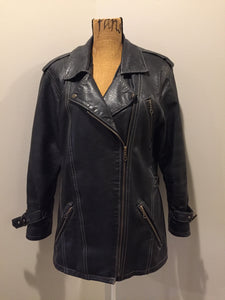 Lawrence Roy black lambskin leather jacket with zipper and three zip slash pockets. Made in Canada. Size large.