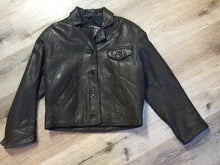 Load image into Gallery viewer, Blueline and Company dark brown leather jacket with button closures, slash pockets and one flap pocket on the chest. Size small.