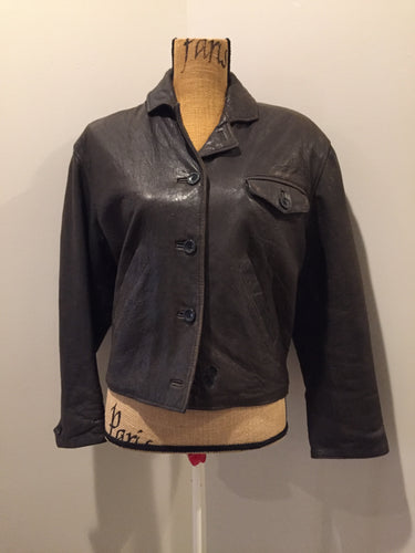 Kingspier Vintage - Blueline and Company dark brown leather jacket with button closures, slash pockets and one flap pocket on the chest. Size small.