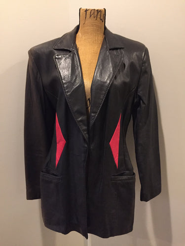 Kingspier Vintage - Cito Leather black leather jacket with red diamond pattern, welt pockets and princess seams. Size 7.
