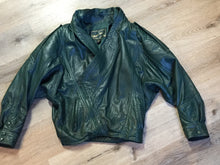 Load image into Gallery viewer, Leather Factory forest green 1980's leather jacket with unique shall collar, zipper and vertical pockets, Size XS.