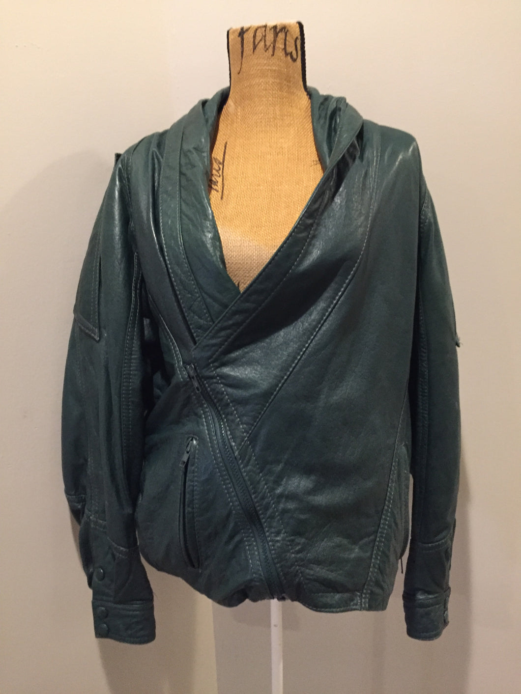 Leather Factory forest green 1980's leather jacket with unique shall collar, zipper and vertical pockets, Size XS.