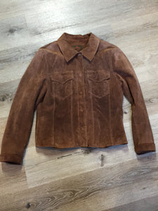 Danier brown suede jacket with snap closures, two flap pockets on the chest and cuffed sleeves. Size medium.