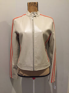 A&S Selections beige with orange stripe moto jacket with zipper closure, vertical zip pockets and zipper at the sleeve. Size medium.