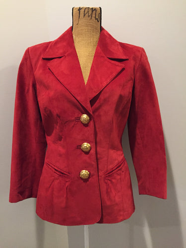 Kingspier Vintage - Danier red suede jacket with fitted silhouette, three gold decorative buttons and two slanted welt pockets. Size small.