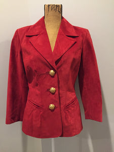 Danier red suede jacket with fitted silhouette, three gold decorative buttons and two slanted welt pockets. Size small.