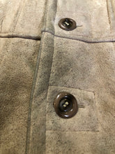 Load image into Gallery viewer, Leather Attic light brown suede coat with shearling lining, button closures and vertical pockets. Made in Canada. Size 38.
