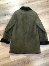 Load image into Gallery viewer, Hilary Riley Army Green suede coat with shearling trim and lining, button closures and patch pockets. Made in Canada.
