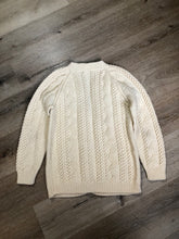 Load image into Gallery viewer, Kingspier Vintage - Vintage hand knit cardigan in cream with button closures. Made in Canada. Size Medium.