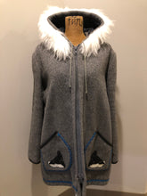Load image into Gallery viewer, Kingspier Vintage - James Bay pure virgin wool northern parka in grey. This parka features a hood with white faux fur trim, zipper closure, quilted lining, knit inside hidden cuffs, hand stitched detail around the patch pockets and hem, felt seal appliqués in the front and a lovely arctic landscape on the back. Made in Canada.