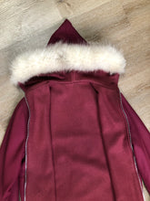 Load image into Gallery viewer, Kingspier Vintage - Pink Northern parka with wool blend lining, hood and sleeves with white fur trim, fur Pom poms, zipper closure, patch pockets, canoe design embroidered on the front pockets. Made in Canada.