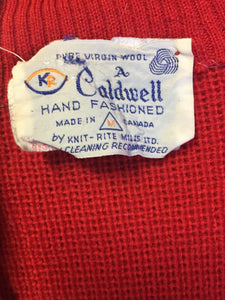 Kingspier Vintage - Vintage Caldwell Knit Rite Mills hand-fashioned cardigan in red with zipper and pockets. Made in Canada.