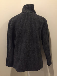 Herman Geist lambswool cardigan in grey with button closures and pockets. Size large.