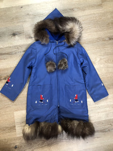Children's blue northern parka featuring a hood, fur trim and pom poms, zipper closure, wool lining, patch pockets, embroidered winter scenes along the front. Made in Canada.