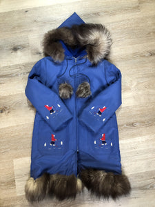 Kingspier Vintage - Children's blue northern parka featuring a hood, fur trim and pom poms, zipper closure, wool lining, patch pockets, embroidered winter scenes along the front. Made in Canada.