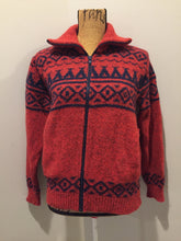 Load image into Gallery viewer, LL Bean cardigan in rust with navy blue design, zipper closure and vertical pockets. Made in the USA. Size medium (women).