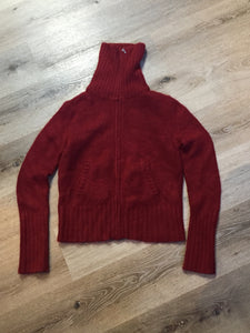 Roots Angora cardigan in red with zipper and slash pockets. Size small.