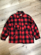 Load image into Gallery viewer, Kingspier Vintage - Sigal red wool blend lumberjack shirt with button closures, two flap pockets, two slash pockets. Made in Canada. Size large.
