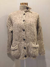 Load image into Gallery viewer, Kingspier Vintage - Mr. Poodle undyed pure wool cardigan with button closures, patch pockets and unique collar. Made in Yarmouth, Nova Scotia. Size medium.