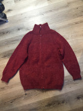 Load image into Gallery viewer, Raspberry red cardigan with zipper closure. Fibres are unknown. Size large.