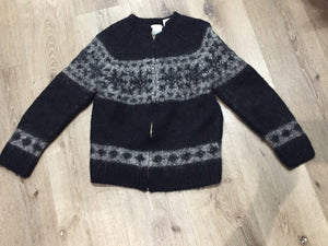 Hand Knit Black/ Grey Zip Cardigan