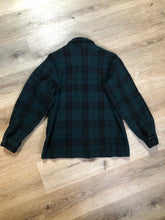 Load image into Gallery viewer, Woolrich dark green plaid wool lumberjack shirt with button closures and two flap pockets on the chest.