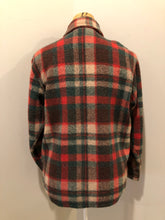 Load image into Gallery viewer, Regent wool blend lumberjack shirt in green, brown and red plaid with button closures and two flap pockets on the chest. Made in Canada.