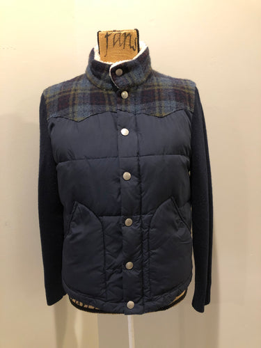 Fairwhale navy blue down filled jacket with knit sleeves, cozy Sherpa style collar, zipper and snap closures, patch pockets and one inside pocket. Size medium.