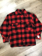 Load image into Gallery viewer, Kingspier Vintage - Red plaid lumberjack shirt with button closures and two flap pockets on the chest.