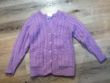 Load image into Gallery viewer, La Maison Simon's cable knit wool and mohair blend cardigan in lavender with button closures and patch pockets. Size medium.