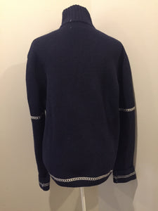 Gant wool cardigan in navy blue with white stripe around trim and zipper closure. Size large.