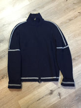 Load image into Gallery viewer, Gant wool cardigan in navy blue with white stripe around trim and zipper closure. Size large.