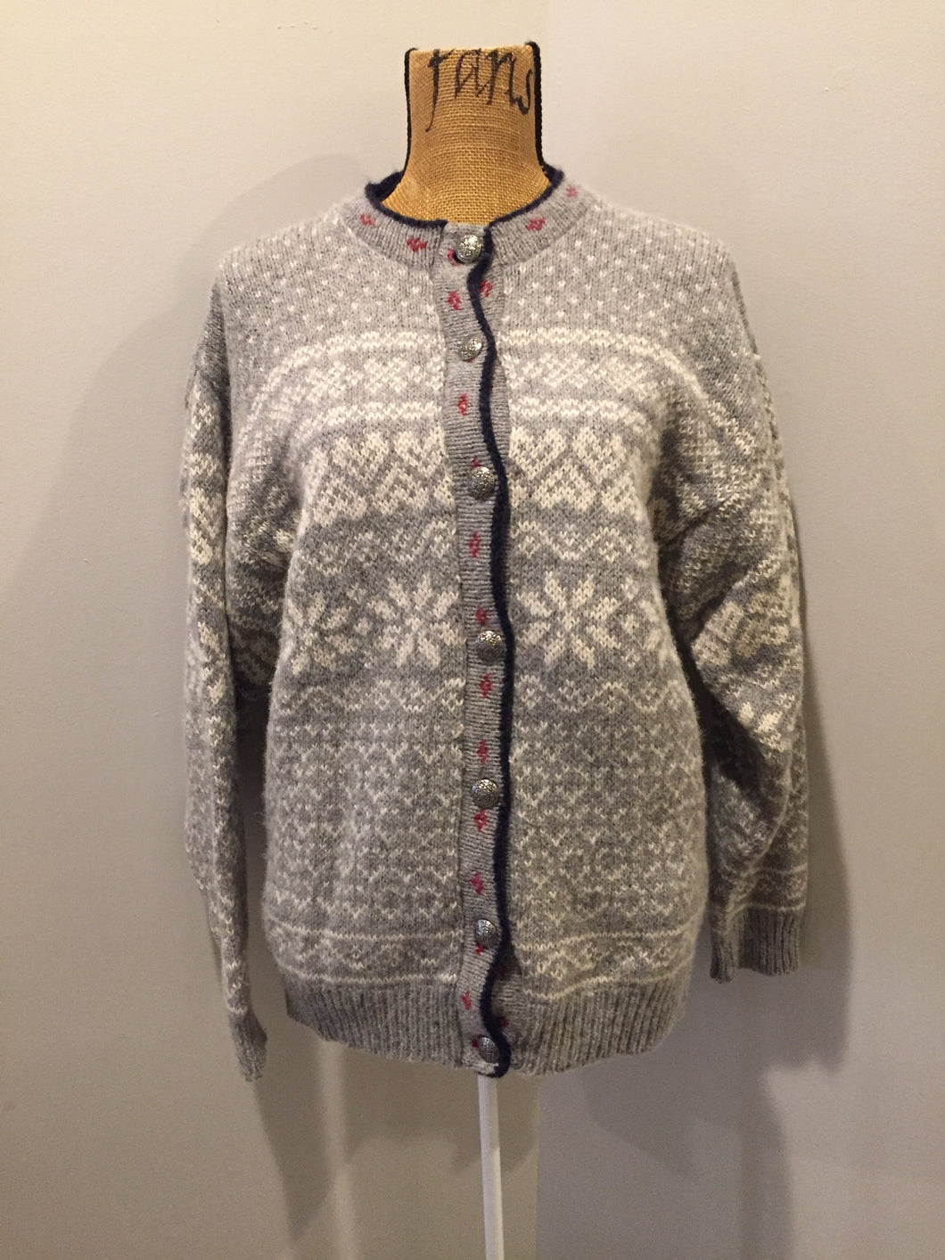 LL BEAN nordic style wool cardigan in grey, white, blue and red with button closures. Made in the USA. Size large.