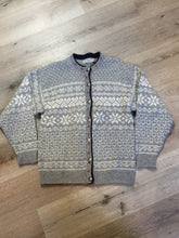 Load image into Gallery viewer, LL BEAN nordic style wool cardigan in grey, white, blue and red with button closures. Made in the USA. Size large.