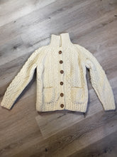 Load image into Gallery viewer, Fisherman's style honeycomb, diamond and braided knit wool cardigan in cream with button closures and patch pockets. Size small (womens).