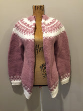 Load image into Gallery viewer, Hand knit Lopi style cardigan in pink and white. Fibers are synthetic.