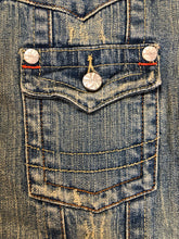 Load image into Gallery viewer, Kingspier Vintage - Younique denim jacket in a distressed light wash with colourful striped wool blend lining, button closures and two flap pockets. Size large, fits more like a medium.