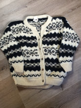 Load image into Gallery viewer, Vintage Casbah Imports wool cardigan in cream, black and brown with button closures and pockets. Size XXL.