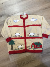 Load image into Gallery viewer, Kingspier Vintage - Hand knit cardigan in beige and red with sheep motif and buttons. Made with synthetic fibers.