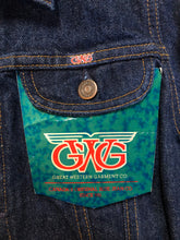 Load image into Gallery viewer, Kingspier Vintage - GWG (Great Western Garment Co.) denim jacket in a dark wash with button closures and two flap pockets on the chest. Fits XS.