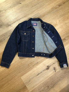 Kingspier Vintage - GWG (Great Western Garment Co.) denim jacket in a dark wash with button closures and two flap pockets on the chest. Fits XS.