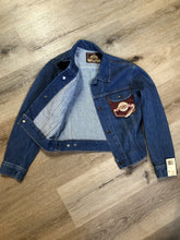 Load image into Gallery viewer, Kingspier Vintage - GWG (Great Western Garment Co.) denim jacket in a medium wash with snap closures and two flap pockets on the chest. Says size 12 fits XS. Canadian company.