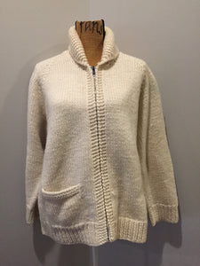 Kingspier Vintage - Mary Maxim wool cardigan in cream with ram design on the back, zipper closure and one pocket in the front. Made in Nova Scotia, Canada. Size large.